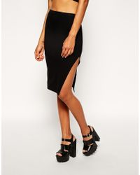 Asos Pencil Skirt In Jersey With Thigh Split - Lyst