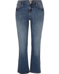 River Island Mid Wash Denim Cropped Kick Flare Jeans - Blue