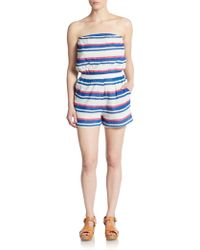 Saks Fifth Avenue - Striped Strapless Short Jumpsuit - Lyst