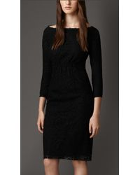 Burberry Boat-Neck Lace Dress - Lyst