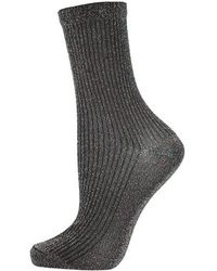 Topshop Ribbed Glitter Ankle Socks - Lyst