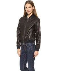 Rag & Bone The Leather Bomber Jacket Black Leather - Lyst