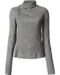 Rick Owens Gray Fitted Jacket - Lyst