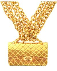 Chanel Pre-Owned Gold Multiple Chain Double Flap Bag Pendant Choker Necklace - Lyst
