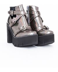 Missguided Danni Cleated Sole Buckle Boots Holographic - Lyst