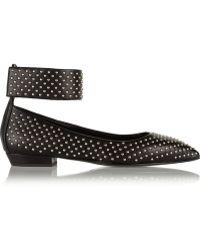 Giuseppe Zanotti Studded Leather Point-Toe Flats - Lyst