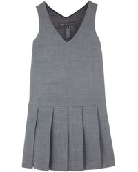 Marc By Marc Jacobs Grey Dress Dropped Pleated Hem - Lyst