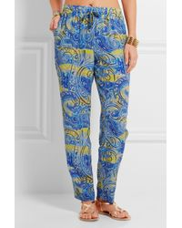 Etro - - Printed Silk-crepe Trousers - Blue - Lyst