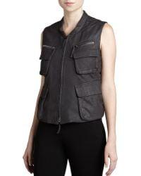 Donna Karan New York Leather Zip-front Vest - Lyst