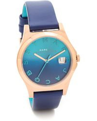 Marc By Marc Jacobs The Slim Leather Watch Rose Goldskipper Blue - Lyst