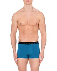 Calvin Klein Colour-blocked Stretch-cotton Trunks - Lyst