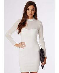 Missguided Janis Mesh Sleeve Bodycon Dress Ivory - Lyst
