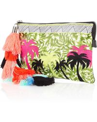 River Island Green Palm Tree Embroidered Tassel Clutch Bag - Lyst