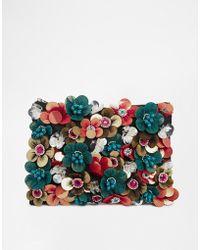 Asos Clutch Bag with Flower Embellishment - Lyst