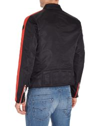 DIESEL - J-red Chevron Nylon Zip Up Biker Jacket - Lyst