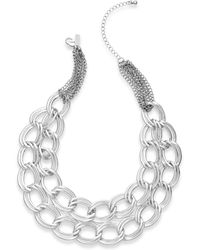 Inc International Concepts Silvertone Tworow Link Necklace - Lyst