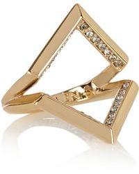Karen Millen Angle Crystal Ring - Metallic