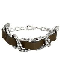 House Of Harlow Leather Engraved Link Bracelet - Lyst