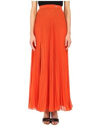 Versace Pleated Maxi Skirt red - Lyst