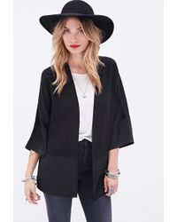 Forever 21 Sateen-Paneled Cardigan - Lyst