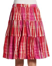 RED Valentino Tiered Plaid Skirt - Lyst