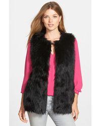 Vince Camuto Shaggy Faux Fur Vest - Black