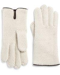Portolano | Leather-trim Honeycomb Stitched Cashmere Gloves | Lyst