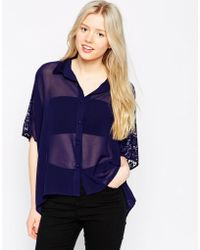 Girls On Film Crop Shirt With Lace Back - Blue