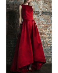Katie Ermilio High-To-Low Hem Box Pleat Train Gown - Lyst