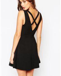 Adelyn Rae Cross Front And Back Skater Dress - Black