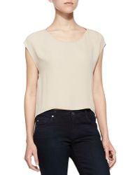 Alice + Olivia Cap-sleeve Top with Cutout Back - Lyst