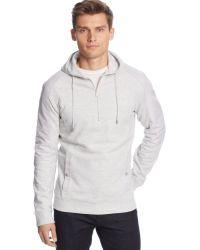 Calvin Klein Quarter-zip Pique Fleece Hoodie - Lyst