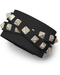 Valentino Rockstud Multi-strand Crystal-stud Leather Bracelet - Lyst