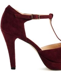Ganni Baby Suede T-Bar Heeled Peep Toe Shoes - Red