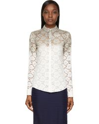 Burberry Prorsum White Dip_dyed Lace Blouse - Lyst