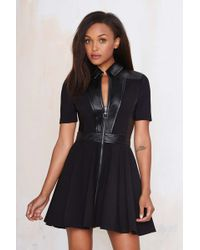 Little Mistress Stripe Fit And Flare Dress In Black Cream