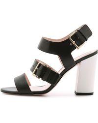 Kate Spade Ibarra Block Heel Sandals - Black/White - Lyst