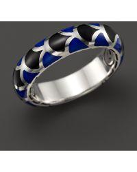 John Hardy Naga Sterling Silver Enamel Band Ring with Black and Blue Enamel - Lyst