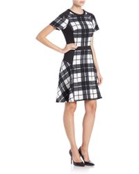 Chetta B - Flared-hem Plaid Dress - Lyst
