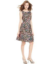 Tahari By Asl Petite Sleeveless Printed Dress multicolor - Lyst