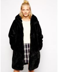 Monki Faux Fur Hooded Jacket - Lyst