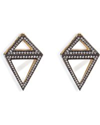 Noor Fares 18k Gold Octahedron Earrings with White Diamonds - Lyst