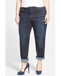 Halogen - Distressed Girlfriend Jeans - Lyst