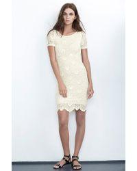 Velvet By Graham & Spencer Zoya Cream Kiara Lace Short Sleeve Dress - Lyst