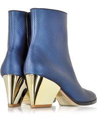 Zoe Lee - Addis Bluette Embossed Leather Bootie - Lyst