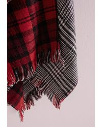Missguided Dogtooth & Check Reversible Blanket Wrap Red