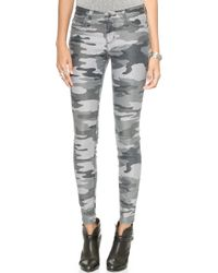 Current/Elliott The Ankle Skinny Jeans - Distressed Black Camo Coating - Lyst