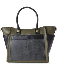 Nila Anthony - Olive & Black Colorblock Tote - Lyst