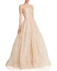 Oscar de la Renta Strapless Foil Tulle Gown gold - Lyst