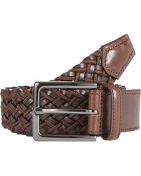 Barneys New York Elasticized Woven Leather & Fabric Belt brown - Lyst